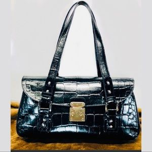 Nordstrom Bags - 👛$25 Nordstrom Black Leather Croc Satchel